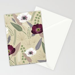 Anemones & leaves Stationery Cards
