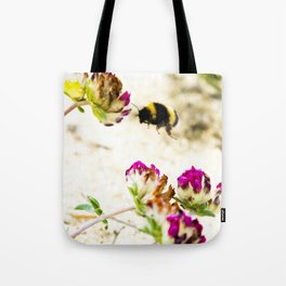 the flight of bumble bee on the dunes I Tote Bag