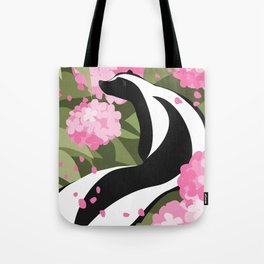Springtime Skunk Among the Flowers Tote Bag