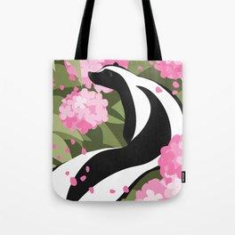 Springtime Skunk Among the Flowers Tote Bag