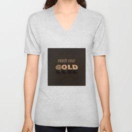 reach your GOLD Unisex V-Neck