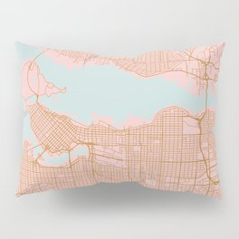 Pink and gold Vancouver map, Canada Pillow Sham