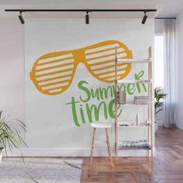 Hand Drawn Trendy Sunglasses. Summer Time Lettering Wall Mural