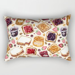 Peanut Butter and Jelly Watercolor Rectangular Pillow