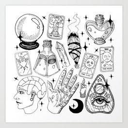 Fortune Teller Starter Pack Black and White Art Print