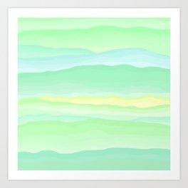 Mint Aqua Rolling Hills Art Print