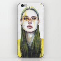 yellow iPhone & iPod Skins featuring yellow lemongrass by agnes-cecile