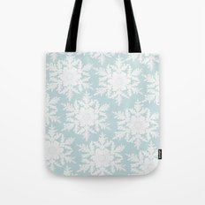 Wedgewood Blue Winter Christmas Snowflake Design Tote Bag