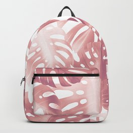 Rose gold tropical plant Backpack