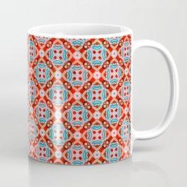 Retro Kitchen Check Cloth , Vintage Red & Blue Chequerboard Daisy flower Pattern Coffee Mug
