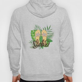 Aloha Hand Painting Palm Leaves Hand Drawn Hoody