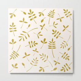Gold Leaves Design on Cream Metal Print