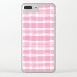 Watercolor Brushstroke Plaid Pattern Pantone Aurora Pink 15-2217 Clear iPhone Case