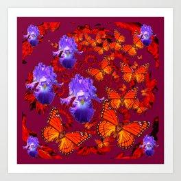 Lilac Iris  Monarch Butterflies Burgundy Color Art Print