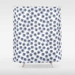 Macrophages - Blue on White Shower Curtain