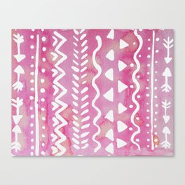 Loose boho chic pattern - pink Canvas Print