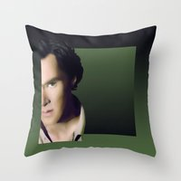 cumberbatch Throw Pillows featuring Benedict Cumberbatch by GinHans