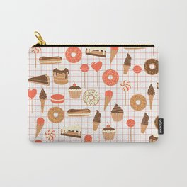 Cute Sweets, Pies, Cakes, Donuts, Eclairs and Pancakes in red and brown Carry-All Pouch