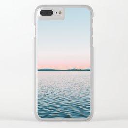 Pink, Blue, Landscape, Water, Nature, Modern art, Scandinavian, Art, Minimal, Wall art Clear iPhone Case
