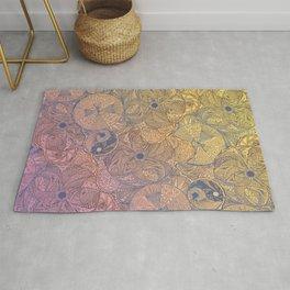 Golden Circle Mandala Pattern Rug