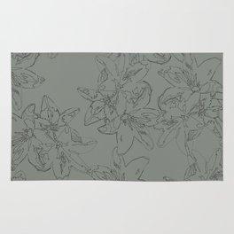 green line art floral pattern Rug