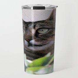 Tabby Cat Sitting In The Shade Behind Passiflora Vine Travel Mug