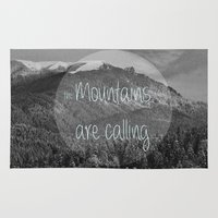 the mountains are calling Area & Throw Rugs featuring the mountains are calling by monicamarcov