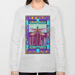 Western Dragonfly Purple-Turquoise Art abstract Long Sleeve T-shirt