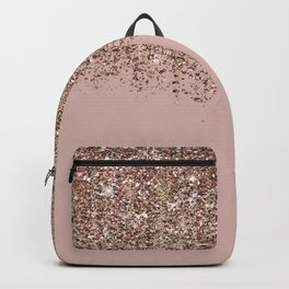 Blush Pink Rose Gold Bronze Cascading Glitter Backpack