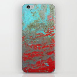 texture - aqua and red paint iPhone Skin
