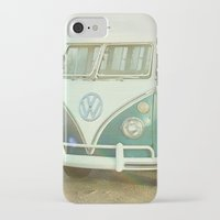 vw bus iPhone & iPod Cases featuring Vintage VW Beach Bus by Lauri Andrews