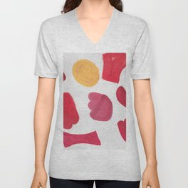 37  | 190408 Red Abstract Watercolour Unisex V-Neck