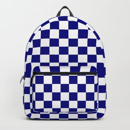 White and Navy Blue Checkerboard Backpack