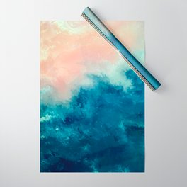 Where the Sky Meets the Sea #2 Blue and Pink Abstract Wrapping Paper
