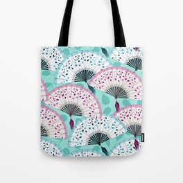 Oriental Hand Fan Pattern Tote Bag
