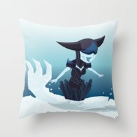 league of legends Throw Pillows featuring Lissandra - League of Legends by Sandy Tang