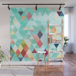 Modern abstract pink aqua turquoise watercolor geometrical Wall Mural