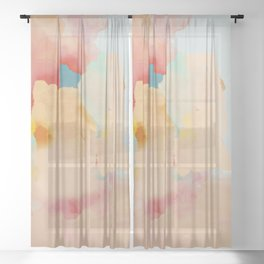 peachy landscape abstract Sheer Curtain