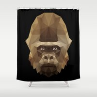 gorilla Shower Curtains featuring Gorilla by Taranta Babu