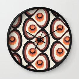 Orange, Brown, and Ivory Retro 1960s Circular Pattern Wall Clock