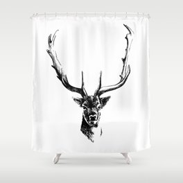 Interaction with deer Shower Curtain