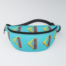 Repeating Pattern Las Vegas Sign Photo On Blue Background Pop Art Fanny Pack