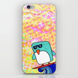 whoa dude, surfing penguin iPhone Skin