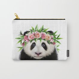 Baby Panda With Flower Crown, Baby Animals Art Print By Synplus Carry-All Pouch