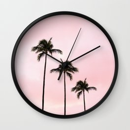 Palm Tree Photography Peach | Blush Pink | Millennial Pink | Miami Wall Clock