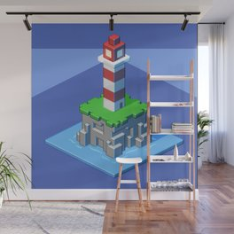 Lighthouse isometric pixel art Wall Mural