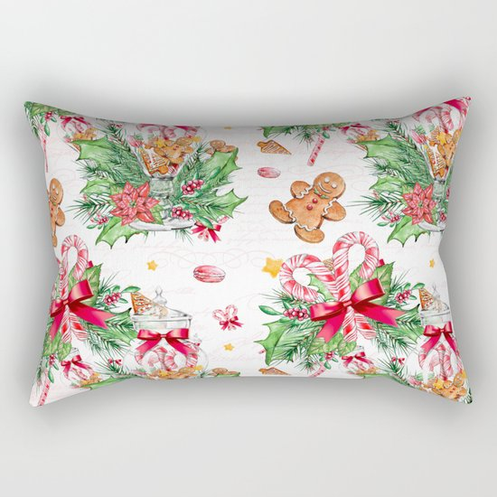 Christmas gingerbread candy cane Rectangular Pillow