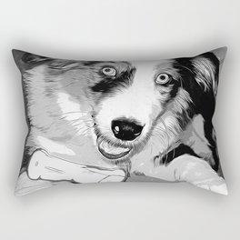 australian shepherd aussie dog puppy vector art black white Rectangular Pillow