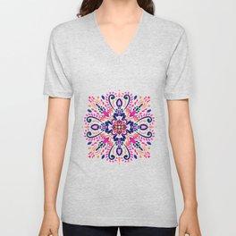 Mandala art- Pink,blue, orange Unisex V-Neck