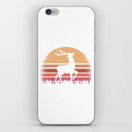 Retro Vintage Deer Sunset Silhouette Forest NC iPhone Skin